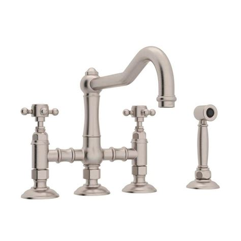 Country Kitchen Faucet Shop Rohl Country Kitchen Satin Nickel 2 Handle Deck Mount Bridge Kitchen Faucet At Lowes