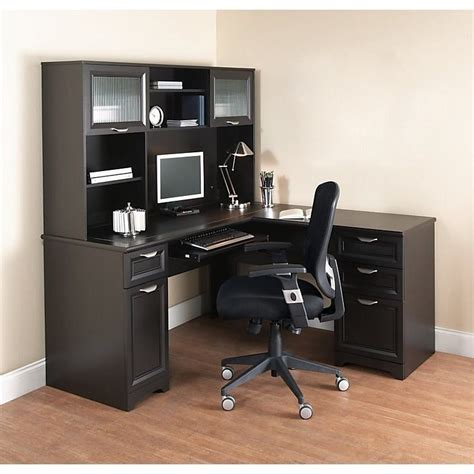 mainstays l shaped desk with hutch multiple finishes l shaped computer desk with hutch image of computer desk