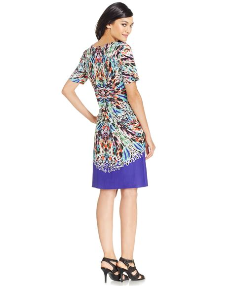 Printed Sleeve Sheath Dress lyst nine west printed sleeve sheath dress in purple