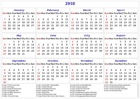 India Calendã 2018 2018 Printable Calendar With Indian Holidays Free