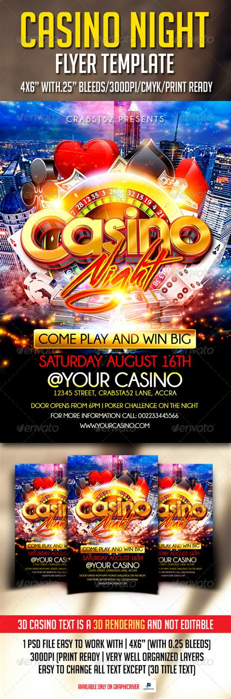 Casino Night Flyer Template By Crabsta52 Graphicriver Casino Flyer Template Free