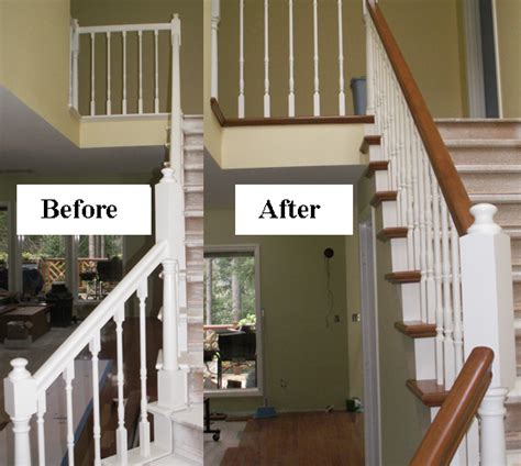 Restaining Banister Rail by Stair Makeover Refinishing Banister Stair Parts