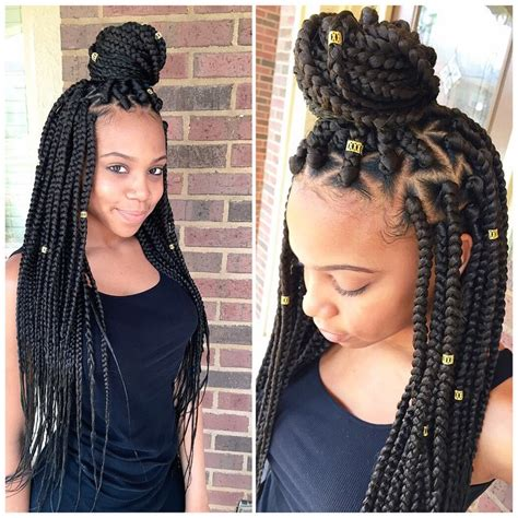 hair style using big braids braids w triangle parts natural gals pinterest