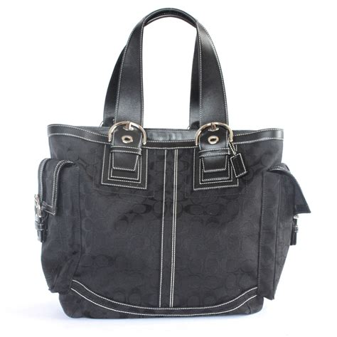 Coach Canvas Signature Small Bag In Black auth coach signature tote bag black canvas x leather 10080