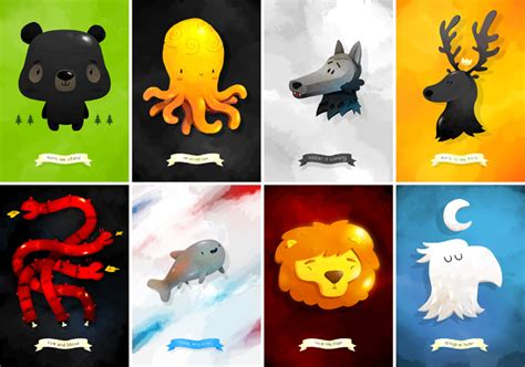 got houses super punch chibi game of thrones house banners