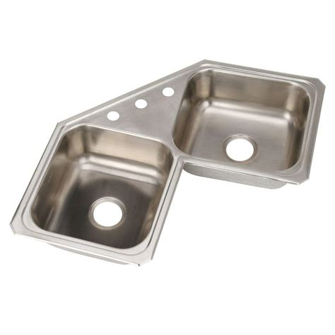 Elkay Avado Undermount Stainless Steel 32 In Double Bowl Corner Kitchen Sink