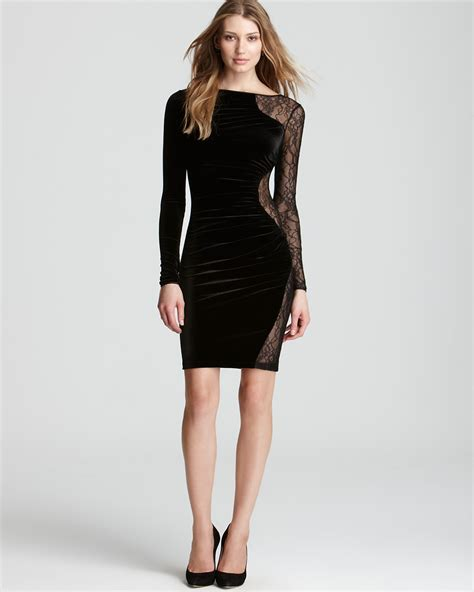ABS by Allen Schwartz Velvet Dress   Long Sleeve with Lace   Bloomingdale's