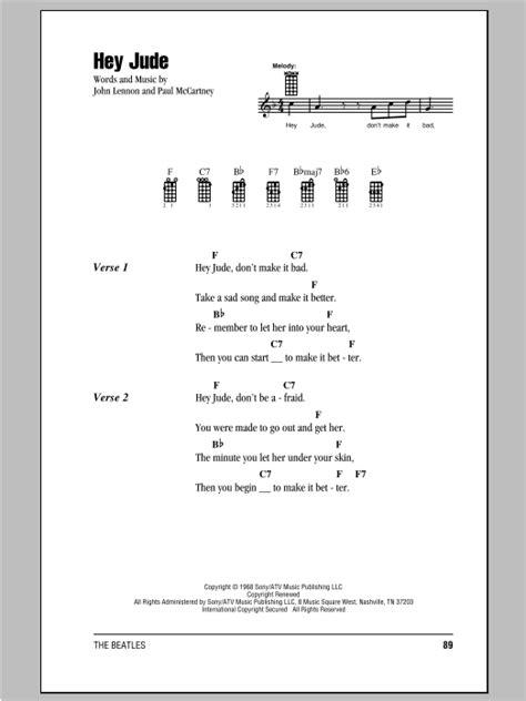 ukulele tutorial hey jude hey jude sheet music by the beatles ukulele with