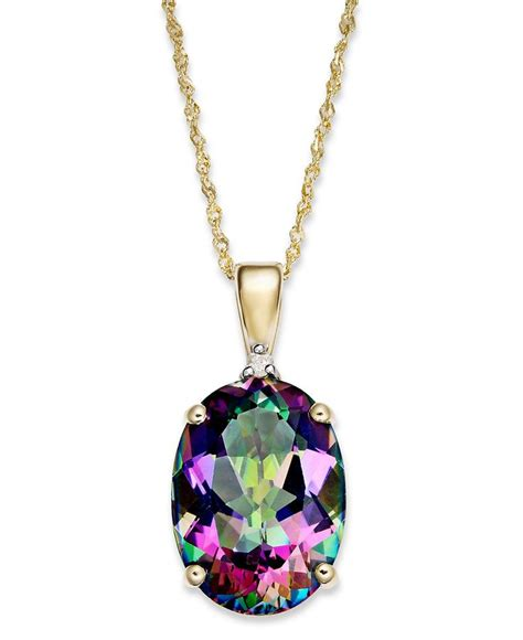 14k gold necklace mystic topaz 7 1 3 ct t w and
