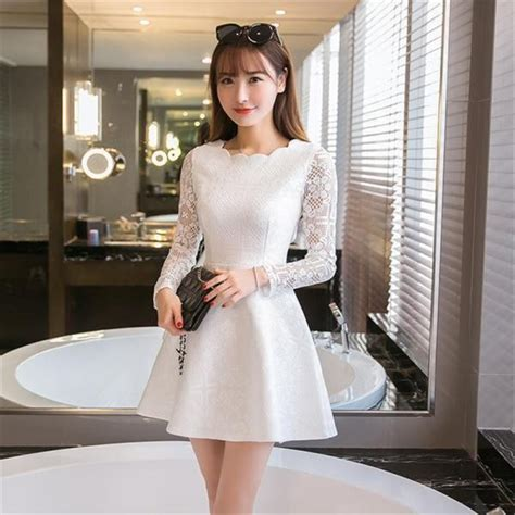 Dress Mini Korean summer autumn lace casual dress sleeve
