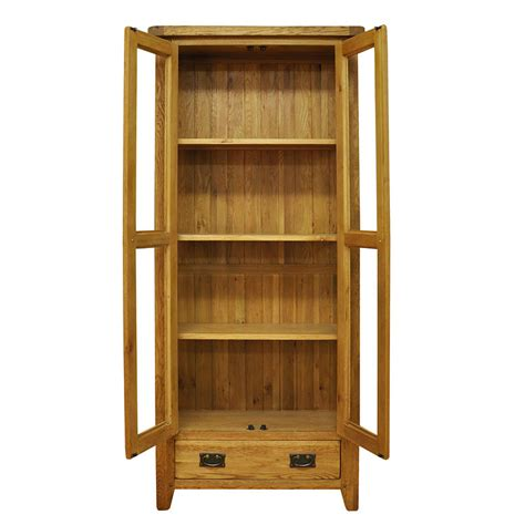 50 off rustic oak display cabinet unit with glass doors
