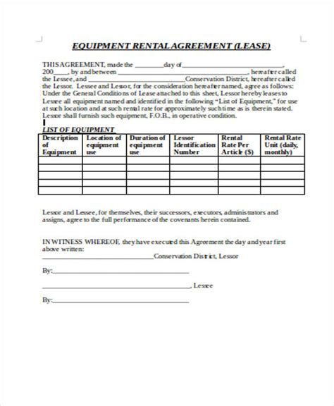 equipment rental agreement form template 21 sle rental agreement forms