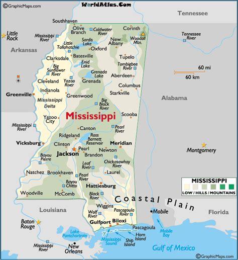 printable map mississippi map of mississippi landforms and land statistics hills