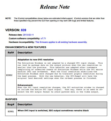 software release calendar template release notes template 6 free documents in pdf