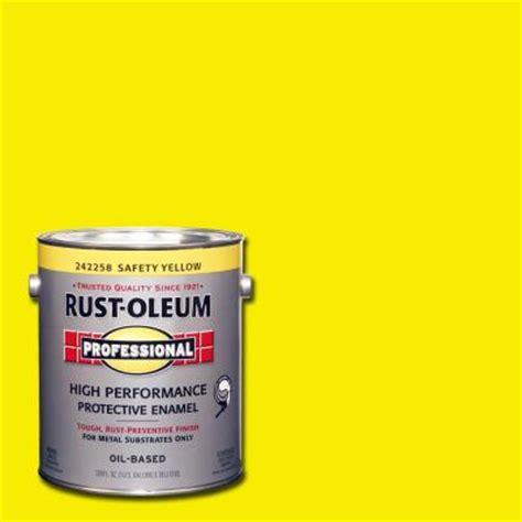 rust oleum professional 1 gal safety yellow gloss protective enamel 242258 the home depot
