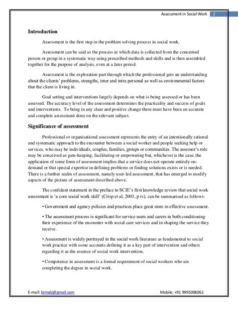 Assessment In Social Work Social Work Assessment Template
