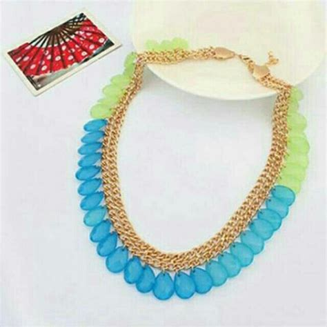 Kalung Fashion Chain Decorated Tassel Design saya menjual kalung korea tassel water drop shape design