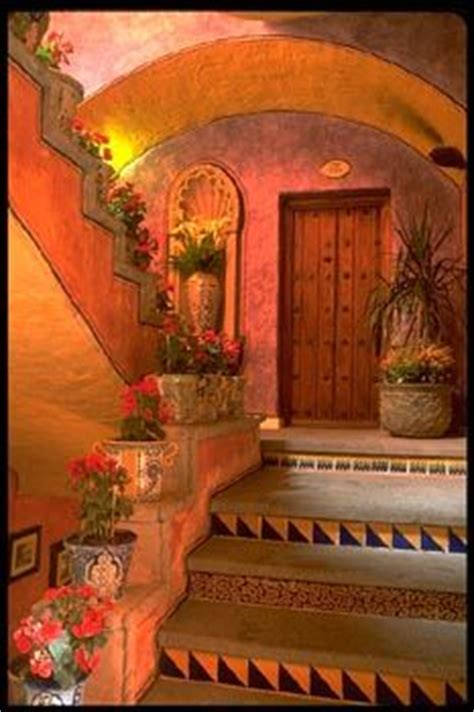 interior design ornate detail abounds in a traditional mexican exterior stairway color texture decorative