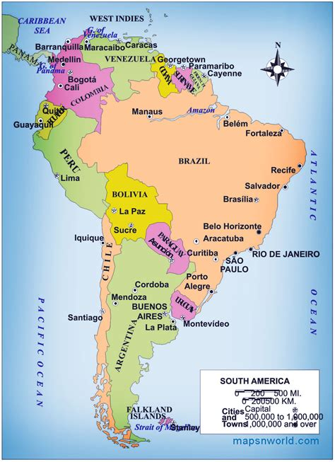 south america map directions political map of south america free printable maps