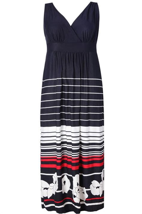 Flower Stripe Shirt Dress Af 069 navy maxi dress with white and striped floral pattern plus size 16 to 32