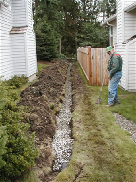 drainage ditch in backyard drainage landscaping services