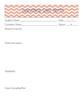 Counseling Case Notes Template By Will Counsel For Coffee Tpt School Counseling Notes Template
