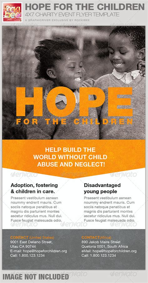 Hope For The Children Charity Event Flyer Template By Rockibee Graphicriver Graphicriver Event Flyer Template