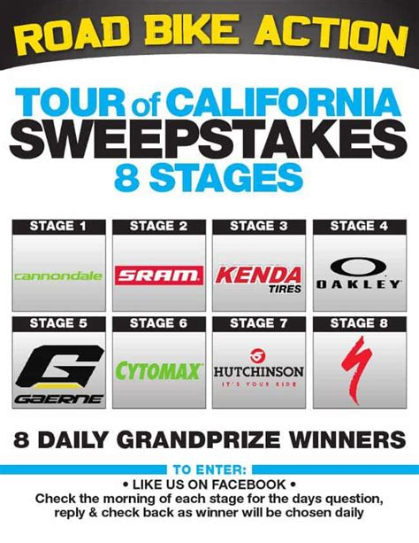 California Sweepstakes - road bike action rba tour of california sweepstakes