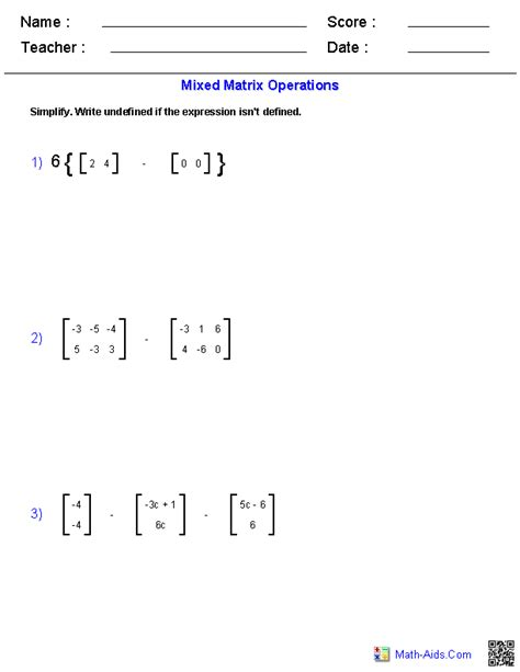 Matrices Worksheet With Answers