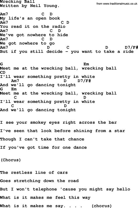 Wrecking Ball Guitar Chords