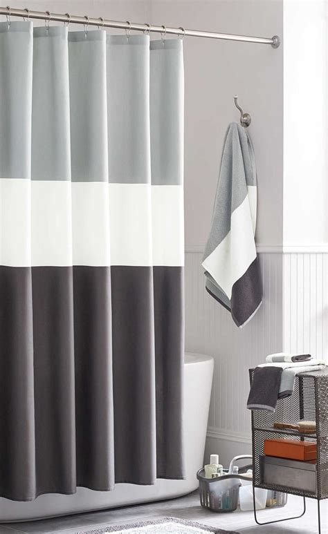 Shower Curtains For Guys 13 Ideas For Creating A More Manly Masculine Bathroom A Simple Color Blocked Shower Curtain