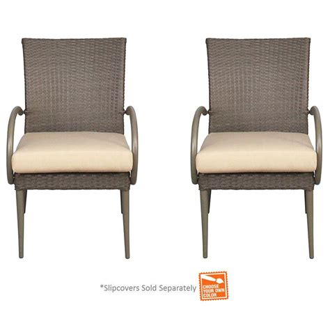Dining Arm Chair Covers Hton Bay Posada Patio Dining Arm Chair With Cushion Insert 2 Pack Slipcovers Sold