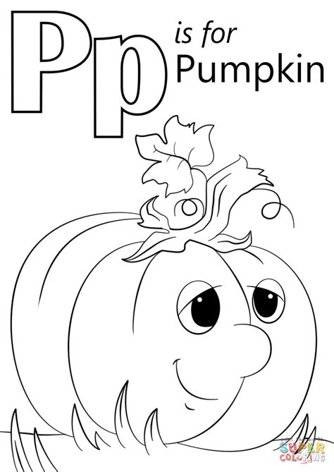 coloring book for a p letter p is for pumpkin coloring page free printable