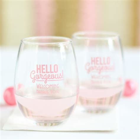 baby shower personalized wine glass personalized 9 oz baby shower stemless wine glass