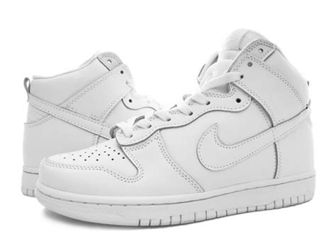 all white nike dunk high tops shoes for on the hunt