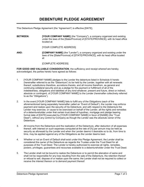 Debenture Template by Debenture Pledge Agreement Template Sle Form