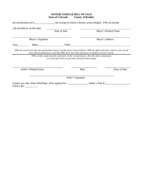 Colorado Bill Of Sale Form Free Templates In Pdf Word Excel To Print Bill Of Sale Template Colorado