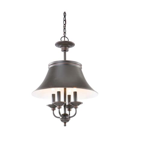hton bay charleston 4 light rubbed bronze pendant