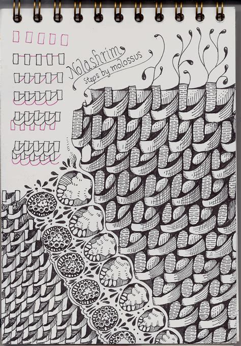 zentangle weave pattern new tangle pattern nolashrim review carnet de voyage