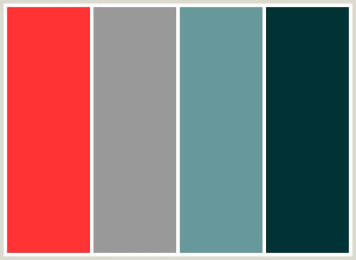 what colours go with grey colorcombo36 with hex colors ff3333 999999 669999 003333