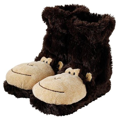 sock monkey house shoes fluffy monkey slippers by jomanda notonthehighstreet com