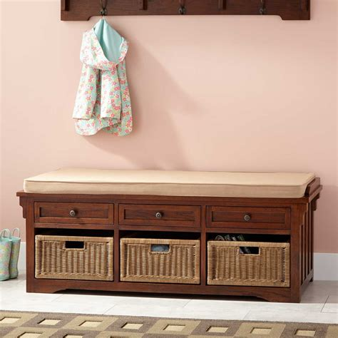 """53"""" Mission Style Oak Entryway Bench   Home Accents"""