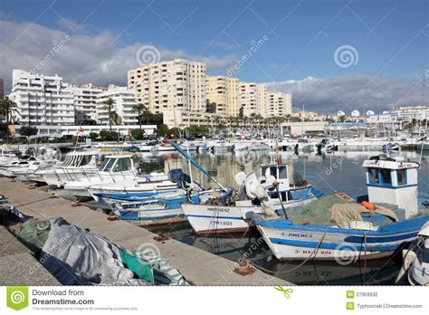 fishing boat in spanish language fishing boats in estepona spain editorial photography
