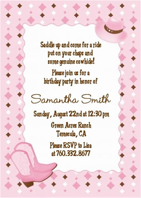 cowgirl western birthday party invitations candles and