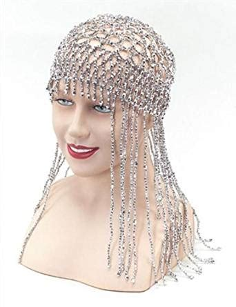 beaded headdress silver abba 70 s cleopatra beaded headpiece