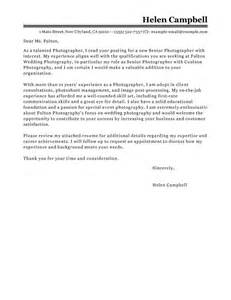 Leading Professional Senior Photographer Cover Letter
