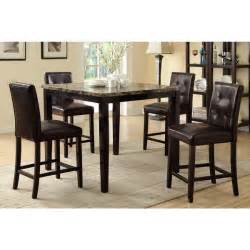 piece white dining set dorel living andover faux marble counter height  pc dining set