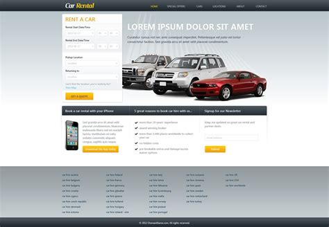 free car rental website template car rental template