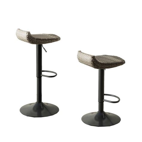 Patio Bar Chair Rst Brands Cannes All Weather Wicker Motion Patio Bar Stool 2 Pack Ip Pebst3205 Cns The Home
