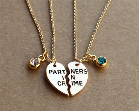 Lovisa Gold Chain With Fabric Necklace partners in crime necklace birthstone friendship necklace